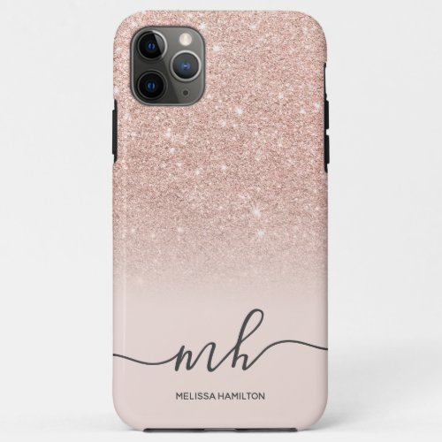 Modern rose gold glitter ombre blush monogrammed Phone Case