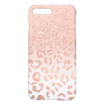 Modern rose gold glitter ombre leopard pattern iPhone 8 plus/7 plus case