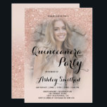 "Modern rose gold glitter ombre photo Quincea&#241;era Invitation<br><div class=""desc"">A modern,  pretty faux rose gold glitter shower ombre with pastel blush pink color block Quincea&#241;era birthday party invitation with your custom photo with rose gold ombre pattern fading onto a pink background. Perfect for a princess Sweet fifteen,  perfect  for her,  the fashionista who loves modern pattern and glam</div>"