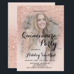 "Modern rose gold glitter ombre photo Quinceañera Invitation<br><div class=""desc"">A modern,  pretty faux rose gold glitter shower ombre with pastel blush pink color block Quinceañera birthday party invitation with your custom photo with rose gold ombre pattern fading onto a pink background. Perfect for a princess Sweet fifteen,  perfect  for her,  the fashionista who loves modern pattern and glam</div>"