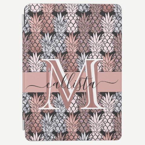 Modern Rose Gold Glitter Pink Pineapples Monogram iPad Air Cover