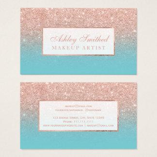 Modern rose gold glitter robbin egg blue makeup business card