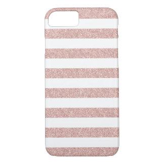 Modern Rose Gold Glitter Stripes iPhone 7 Case