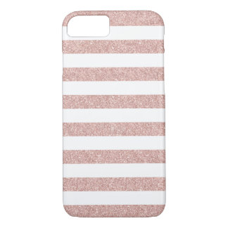 Modern Rose Gold Glitter Stripes iPhone 8/7 Case