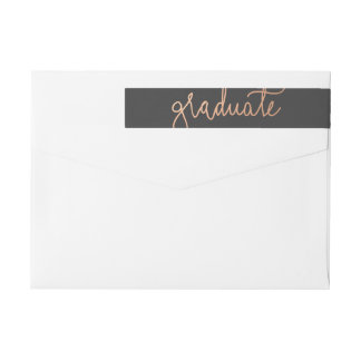 Modern Rose Gold Graduate Typography Charcoal Wrap Around Label