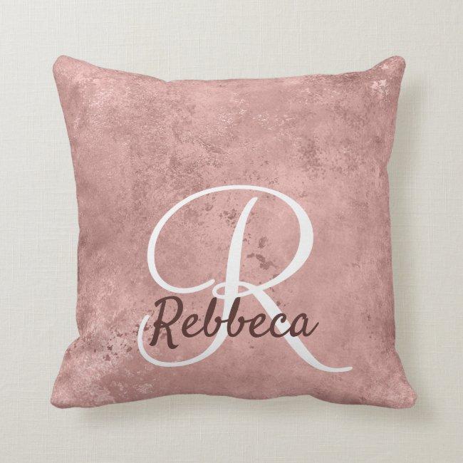 Modern Rose Gold Grunch Rustic Pink GiftsFor Her Throw Pillow