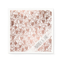 Modern rose gold hand drawn hearts pattern paper napkin