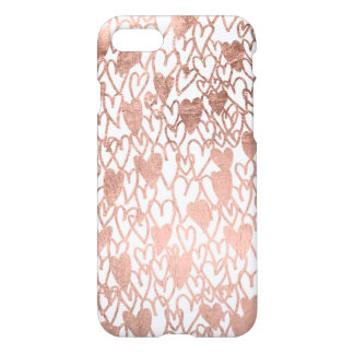 Modern rose gold hand drawn love hearts pattern iPhone 8/7 case