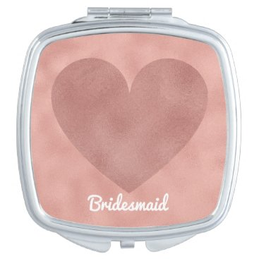 Bride Themed Modern Rose Gold Heart Wedding Bridesmaid Girly Makeup Mirror