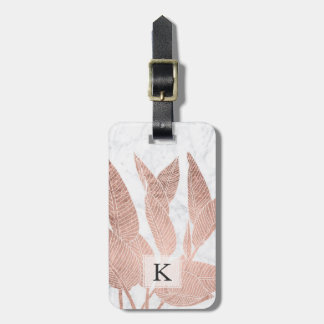 Modern rose gold leaf tropical white marble bag tag
