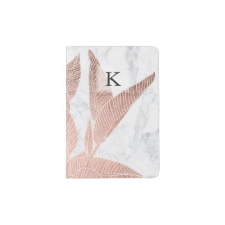 Modern rose gold leaf tropical white marble passport holder