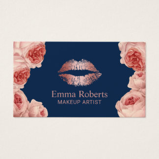 Modern Rose Gold Lips Floral Makeup Artist Navy Business Card