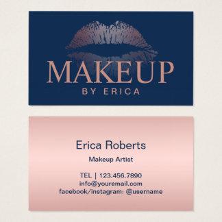 Modern Rose Gold Lips Navy Blue Makeup Artist Business Card