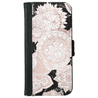 Modern rose gold mandala chic marble wallet phone case for iPhone 6/6s