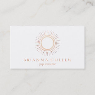 Circle logo business cards zazzle modern rose gold mandala circle logo white yoga business card reheart