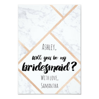 Modern rose gold marble color block my bridesmaid card