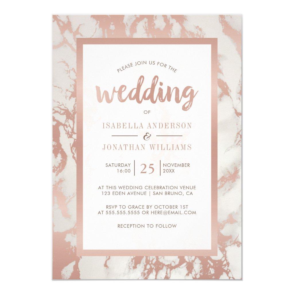 Modern Rose Gold Marble Wedding Invitation
