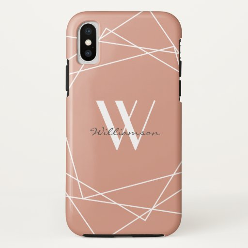 Modern Rose Gold Monogram Geometric Pattern Name iPhone XS Case