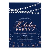 Modern Rose Gold & Navy Holiday Party Invitation