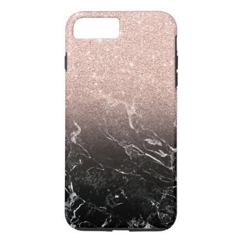 Modern rose gold ombre black marble color block Phone Case