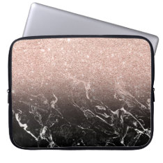 Modern rose gold ombre black marble color block computer sleeve at Zazzle