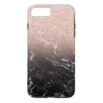 Modern rose gold ombre black marble color block iPhone 8 plus/7 plus case
