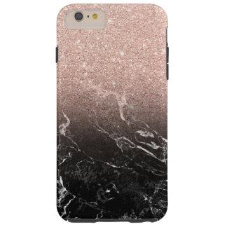 Modern rose gold ombre black marble color block tough iPhone 6 plus case