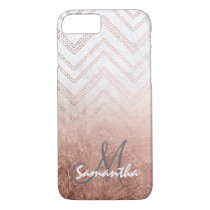Modern rose gold ombre chevron marble monogram iPhone 8/7 case