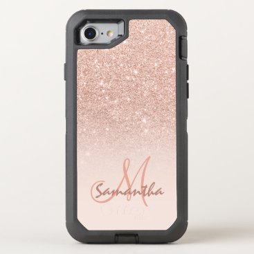 Modern rose gold ombre pink block OtterBox defender iPhone 7 case
