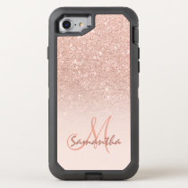 Modern rose gold ombre pink block OtterBox defender iPhone 8/7 case