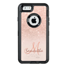 Modern Rose Gold Ombre Pink Block Personalized Otterbox Defender Iphone Case at Zazzle