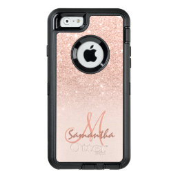 Modern rose gold ombre pink block personalized OtterBox defender iPhone case