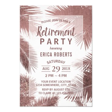 Beach Themed Modern Rose Gold Palm Tree Beach Retirement Card