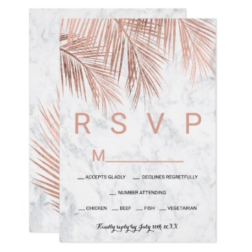 Beach Themed Modern rose gold palm tree marble RSVP wedding Card
