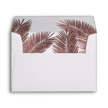 Beach Themed Modern Rose Gold Palm Tree Tropical Wedding Envelope