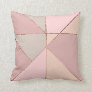 Modern rose gold peach tan blush color block throw pillow