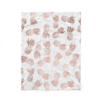 Modern rose gold pineapples pattern white marble fleece blanket