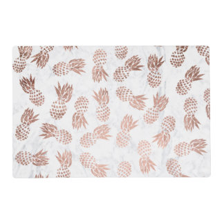 Modern rose gold pineapples pattern white marble placemat