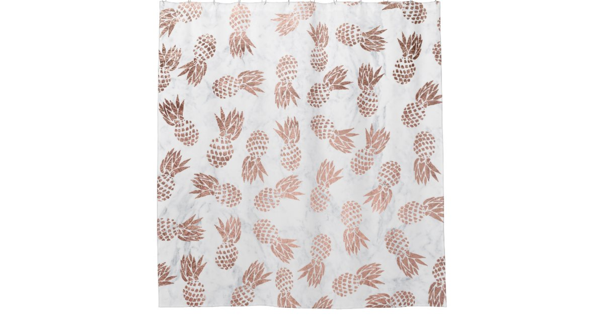 Modern Rose Gold Pineapples Pattern White Marble Shower Curtain