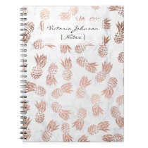 Modern rose gold pineapples pattern white marble spiral notebook