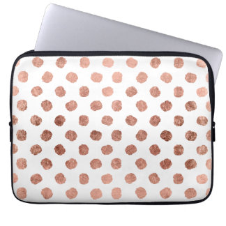 Modern rose gold polka dots brushstrokes pattern laptop sleeve