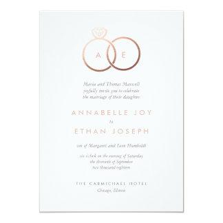 Modern Rose Gold Rings Blush Wedding Invitation