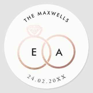 Modern Rose Gold Rings Custom Wedding Sticker