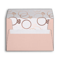 Modern Rose Gold Rings Wedding Invitation Envelope