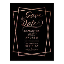 Modern rose gold script geometric save the date postcard