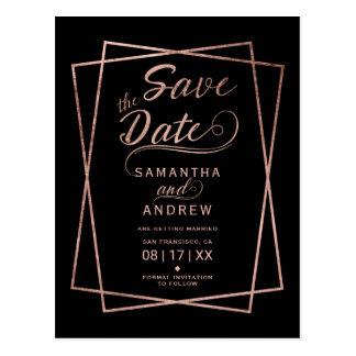 Modern rose gold script geometric save the date postcard