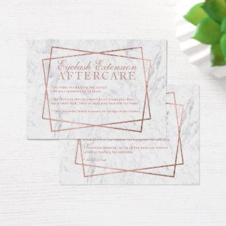 Modern rose gold script marble eyelash aftercare business card