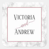 Modern Rose Gold Script Marble Wedding Square Sticker