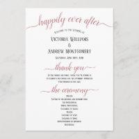 Modern Rose Gold Script Minimal Wedding Ceremony Program