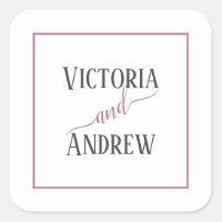 Modern Rose Gold Script Minimal Wedding Square Sticker